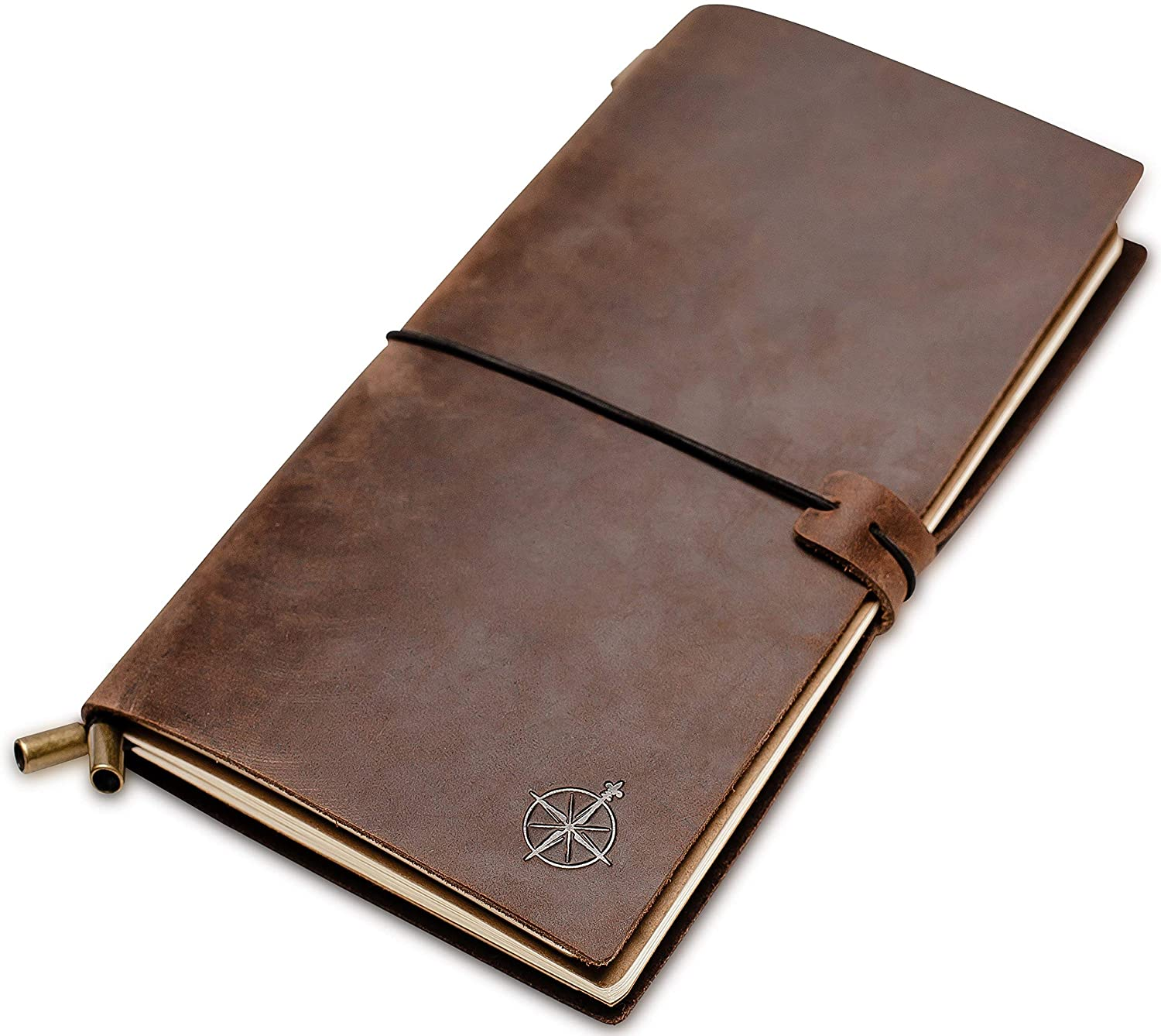 Lined Leather Travel Journal - Wanderings Travelers Notebook, Refillable - Perfect for Writing, Poetry, To Do Lists, Travelers, a Diary. Standard Size Lined Inserts - 8.5