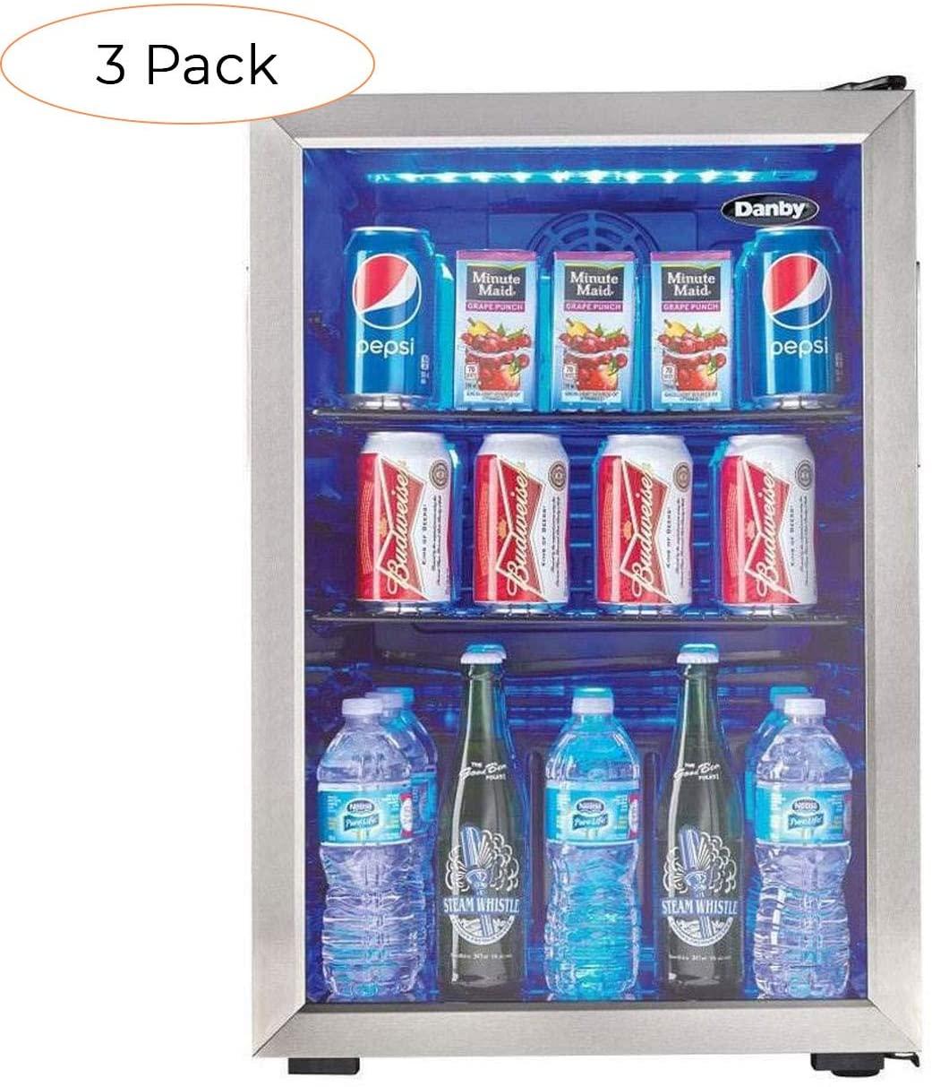 Danby 95 Can 2.6 Cu. Ft. Free Standing Beverage Center Mini Fridge w/Glass Door (3 Pack)