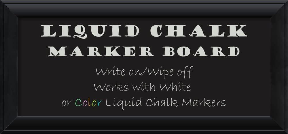 Amanti Art Framed Liquid Chalk Marker Board, Nero Black Panel - 34 Inches X 16 Inches