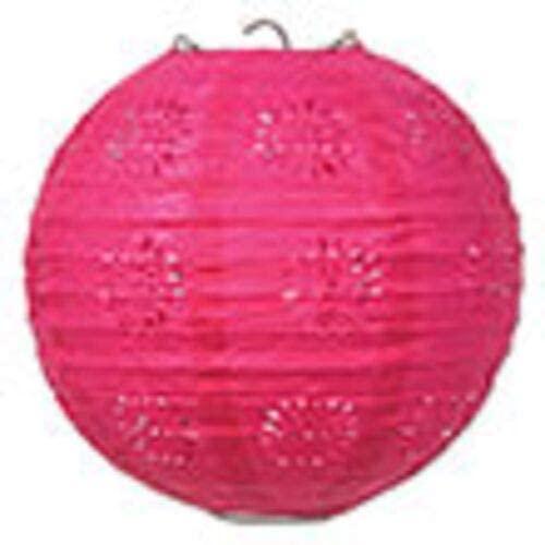 3 hot Pink Paper lace Pattern Lanterns 8