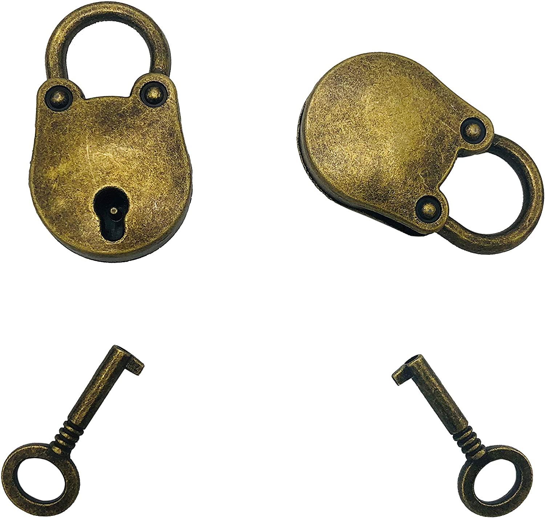 Mini Bronze Vintage Style Lock Mini Bear Head Antique Lock Replica Padlock with Keys, Pack of 2