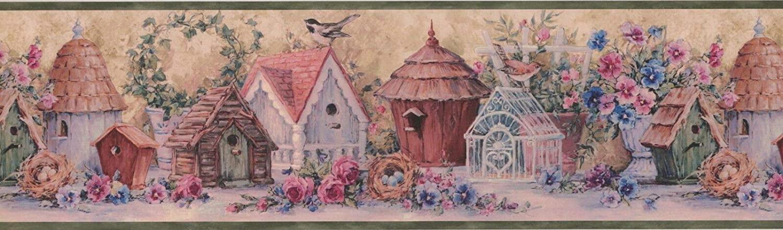 Wallpaper Border Flowers and Bird Houses 7