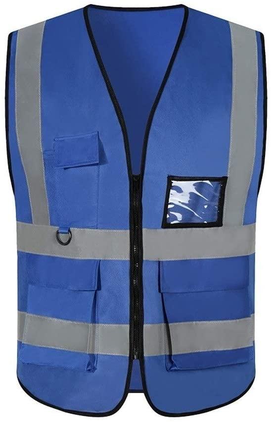 Safety Vest Workwear Reflective Vest, Lightweight Breathable Multi-Pocket Overalls Night Travel Safety High Visibility Vest Blue Child Safety Vest (Color : Blue, Size : One Size)