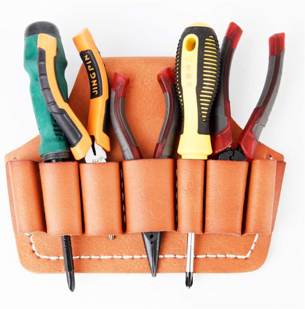 YJSD Leather Tool Pouch Tool, Organizer Bag Electricians Waist, Hand Stitching, Superb Craftsmanship for Tools with 6roomy Pockets, DIY Carpenters