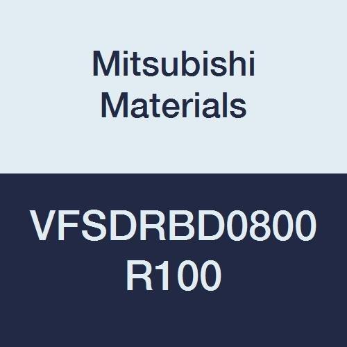 Mitsubishi Materials VFSDRBD0800R100 Carbide Impact Miracle Corner Radius End Mill for Difficult-to-Cut Material, Short Flute, 6 Flutes, 8 mm Cutting Diameter, 1 mm Corner Radius, 8 mm LOC