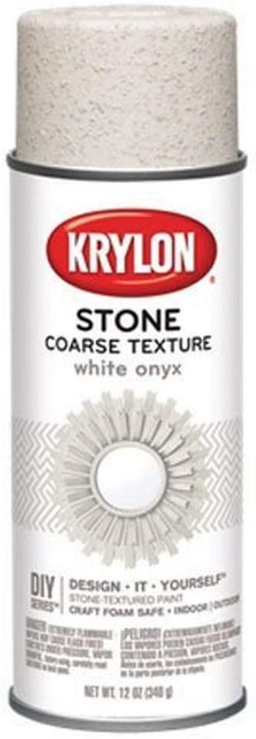 Krylon K18213 Coarse Stone Texture Finish Spray Paint, White Onyx, 12 Ounce