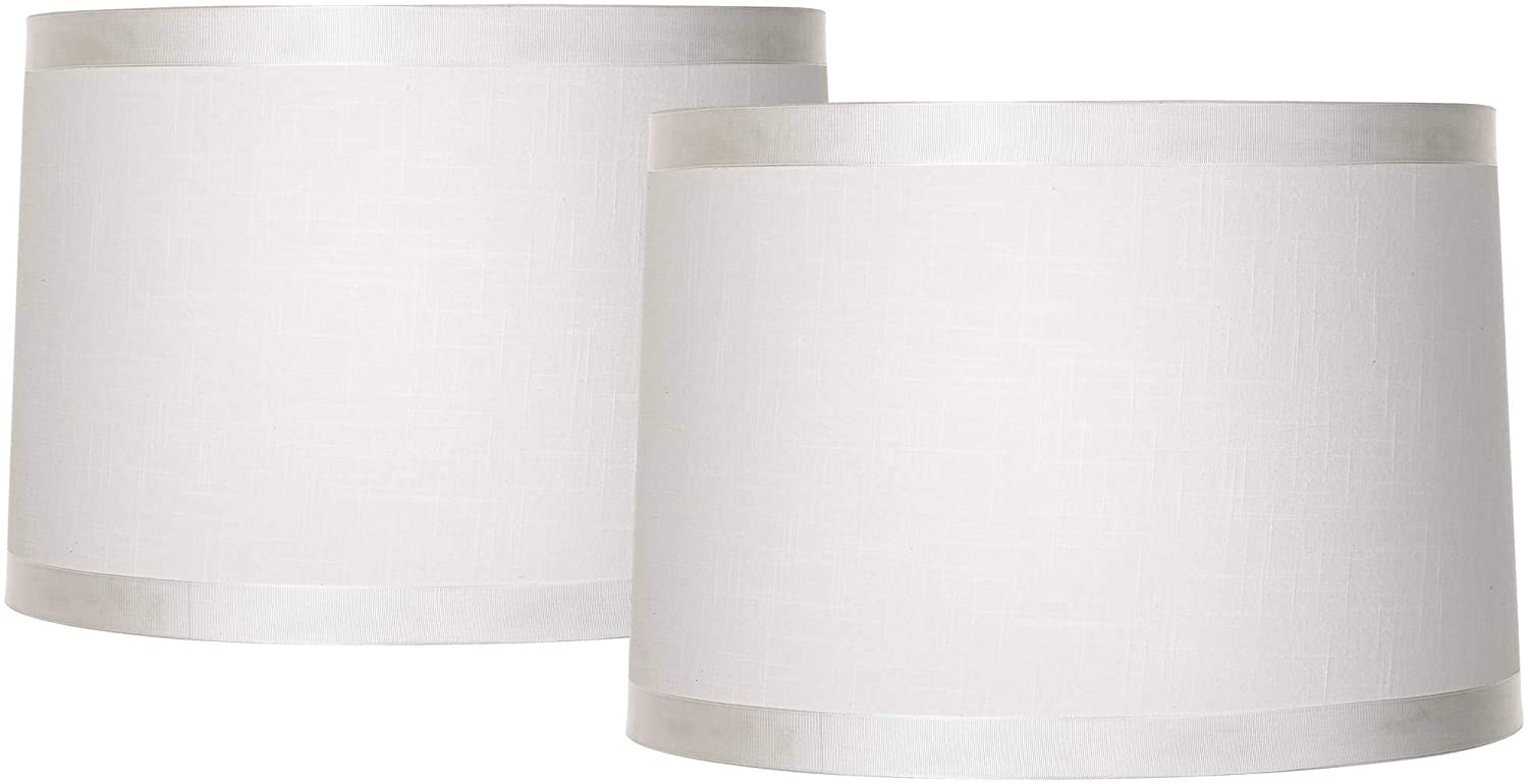 Off White Fabric Set of 2 Drum Shades 15x16x11 (Spider) - Brentwood