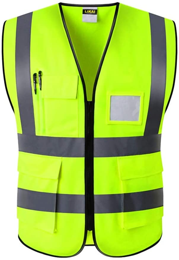 Night Construction Multi Pocket Waterproof with Zipper Wear Resistant Waistcoat Reflective High Visibility Safety Vest Reminder MBDXHJ-69 (Size : L)