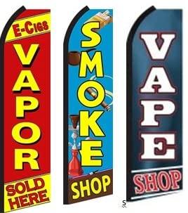E-Cig Vapor Sold Here, Smoke Shop, Vape Shop King Swooper Feather Flag Sign- Pack of 3 (Hardware Not Included)