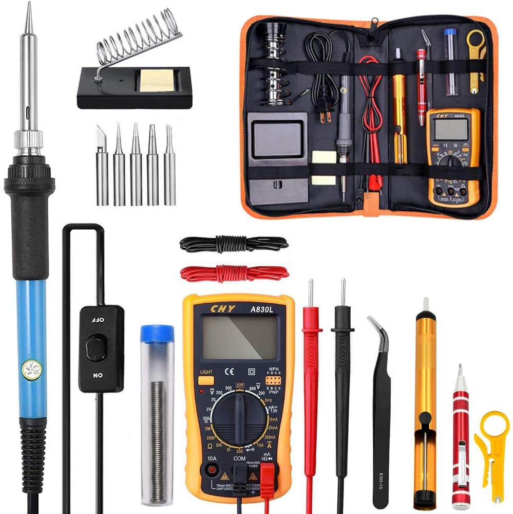 JHYM Soldering Iron Kit, 60W 23-in-1 Adjustable Temperature Electric Soldering Iron Kit with On/Off Switch, for Electric Repair, Home DIY and Wood-Burning