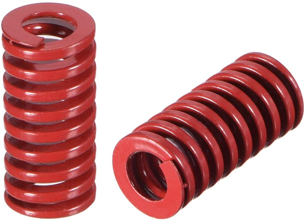 uxcell 10mm OD 20mm Long Spiral Stamping Middle Load Compression Mould Die Spring Red 2Pcs