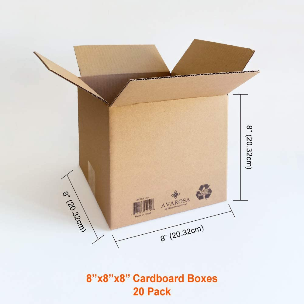 8x8x8 Moving Boxes, Shipping Boxes, Avarosa Cardboard Boxes, Pack of 20, Corrugated Cardboard, Solid and Durable.