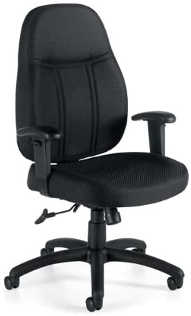 Fabric Tilter Chair with Arms Fabric: Black