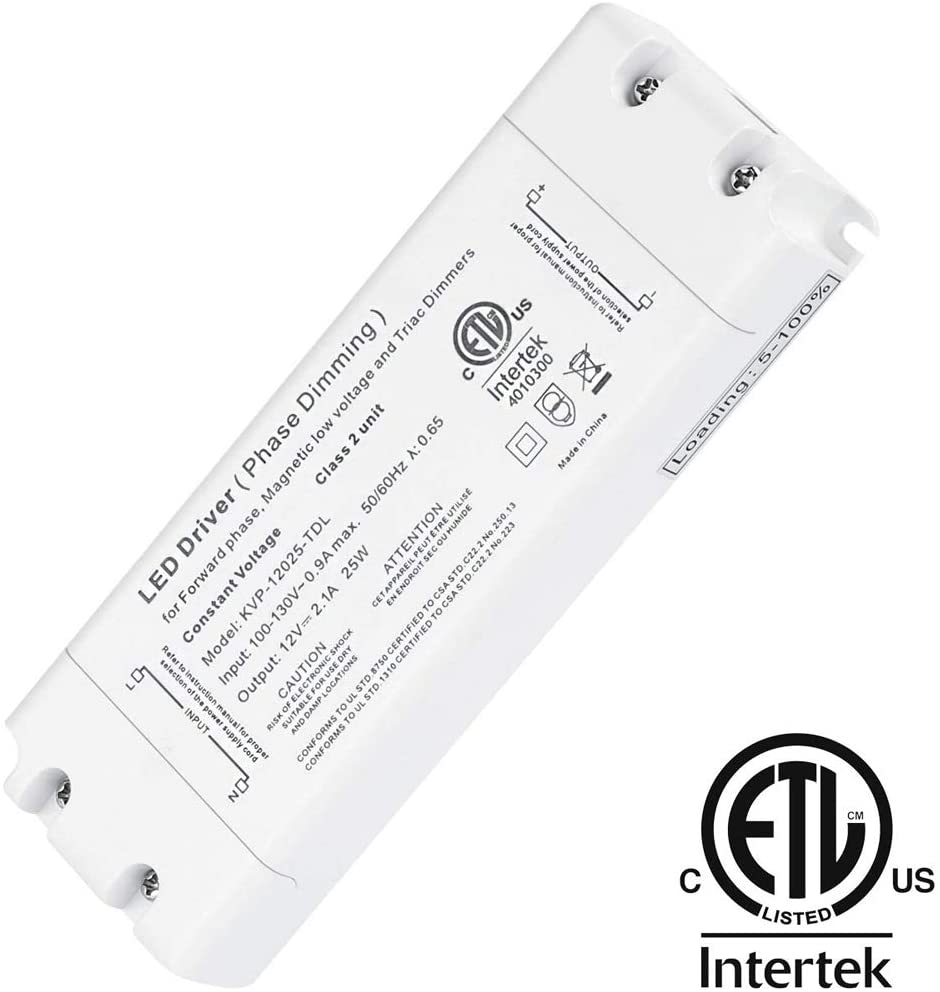 CATIYA 12V 25W Phase/Triac Dimmable LED Driver, ETL Listed Class 2 Unit Constant Voltage Transformer for Forward Phase, Magnetic Low Voltage and Triac Dimmers
