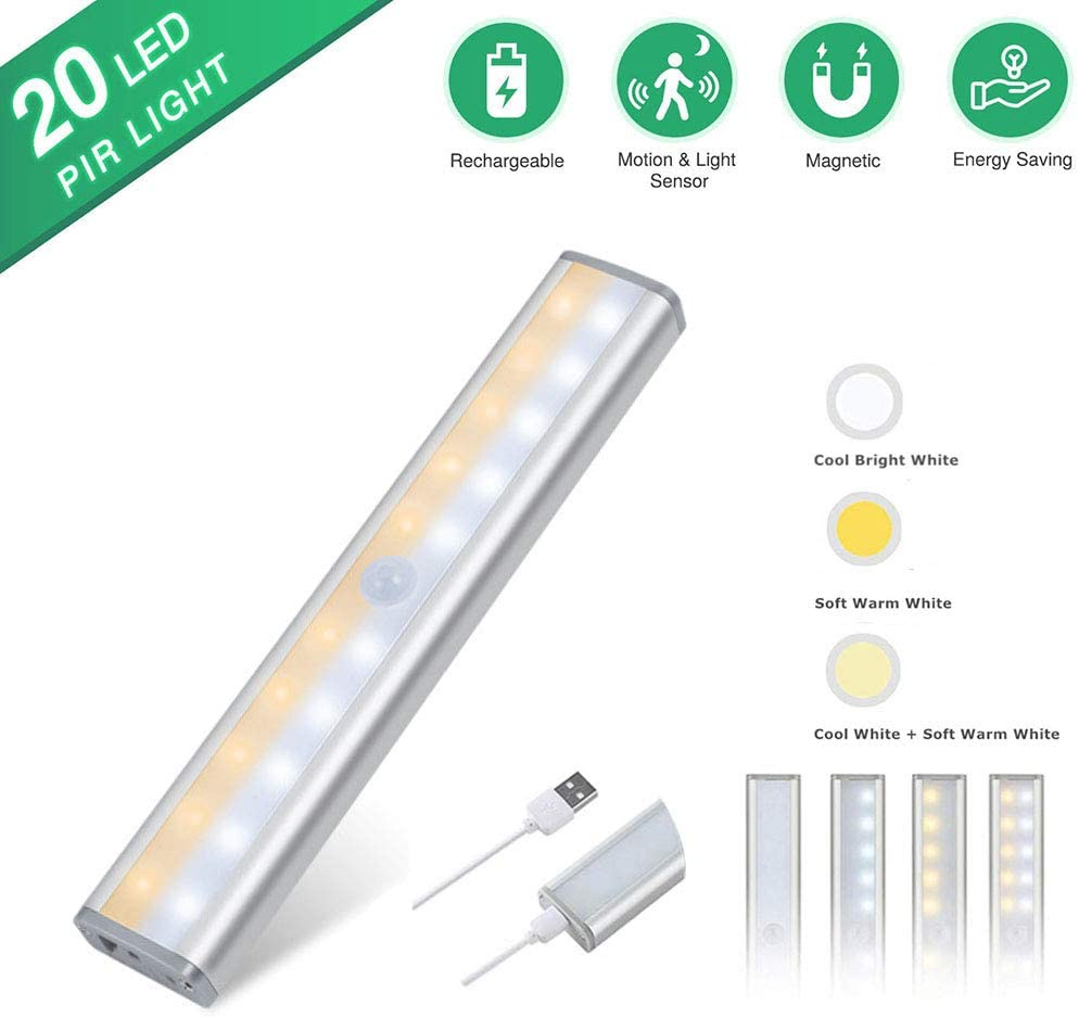 Motion Sensor Closet Light, 20 LED Wireless Under Cabinet Lighting, USB Rechargeable Battery, Stick-on Anywhere Magnetic Night Lamp for Wardrobe Cupboard Drawer Kitchen Stairs, Bright Soft Warm White