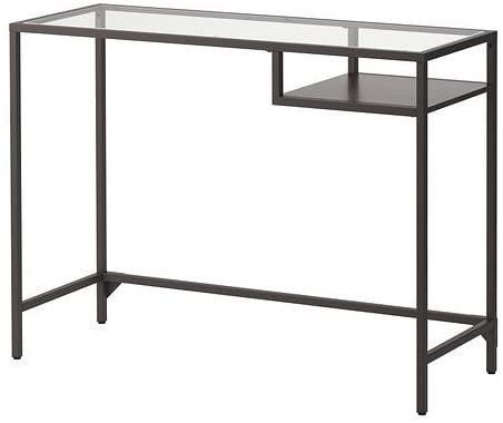 IKEA VITTSJÖ,laptop table, black-brown, glass