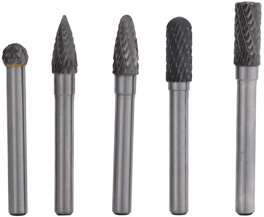 5 pieces of tungsten steel milling cutters, 6mm shank, 8mm head rotary drill bit kit