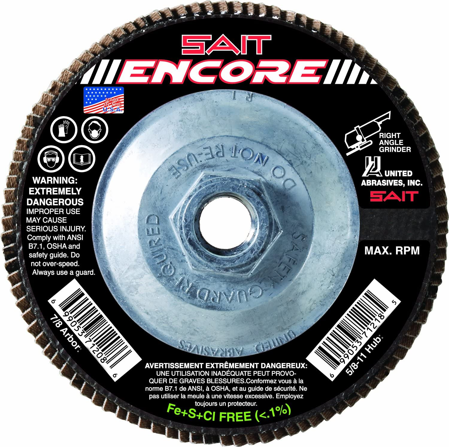United Abrasives-SAIT 71219 Type 27 Encore Flap Disc, 4-1/2-Inch x 5/8-11-Inch Z 80X, 10-Pack