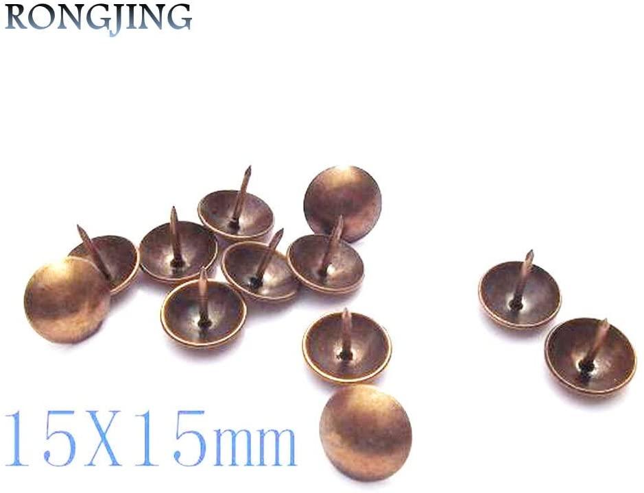 Ochoos 100pcs Copper DIY Wooden Accessories Corners Fixed Antique Rivets Bubble Nails Decorative Vintage Furniture Sofa Nails 15X15mm