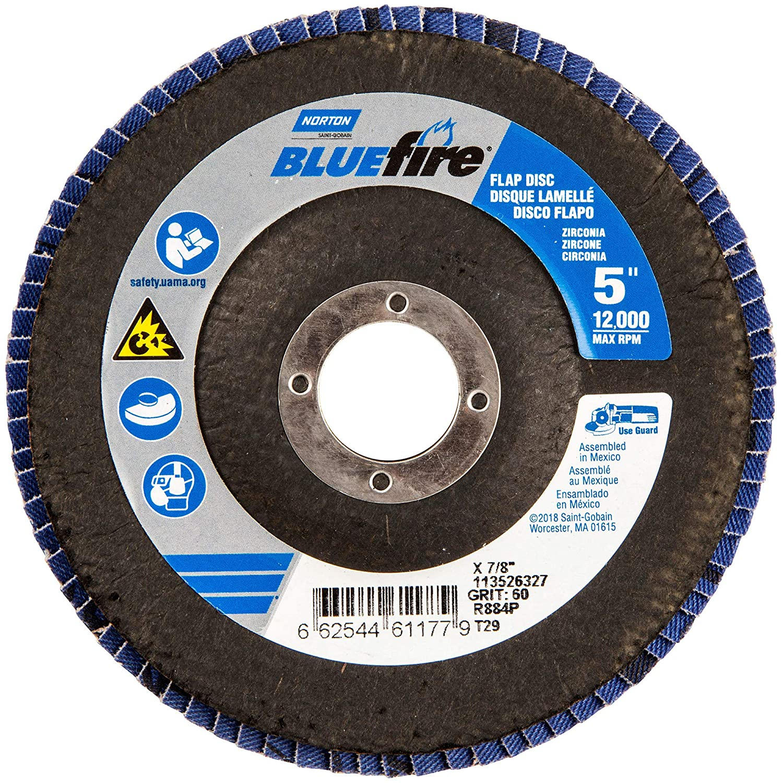 Flap Disc, 5 In x 60 Grit, 7/8