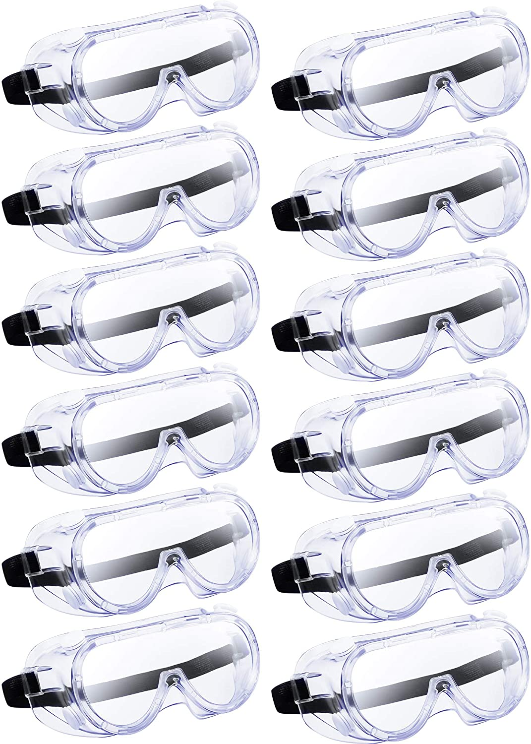 Traditional Technician Safety Goggle Soft Crystal Eye Protection Adjustable Splash Goggles Wide-Vision Safety Goggles with Elastic Headband for Construction, Lab Work, DIY Project (12)