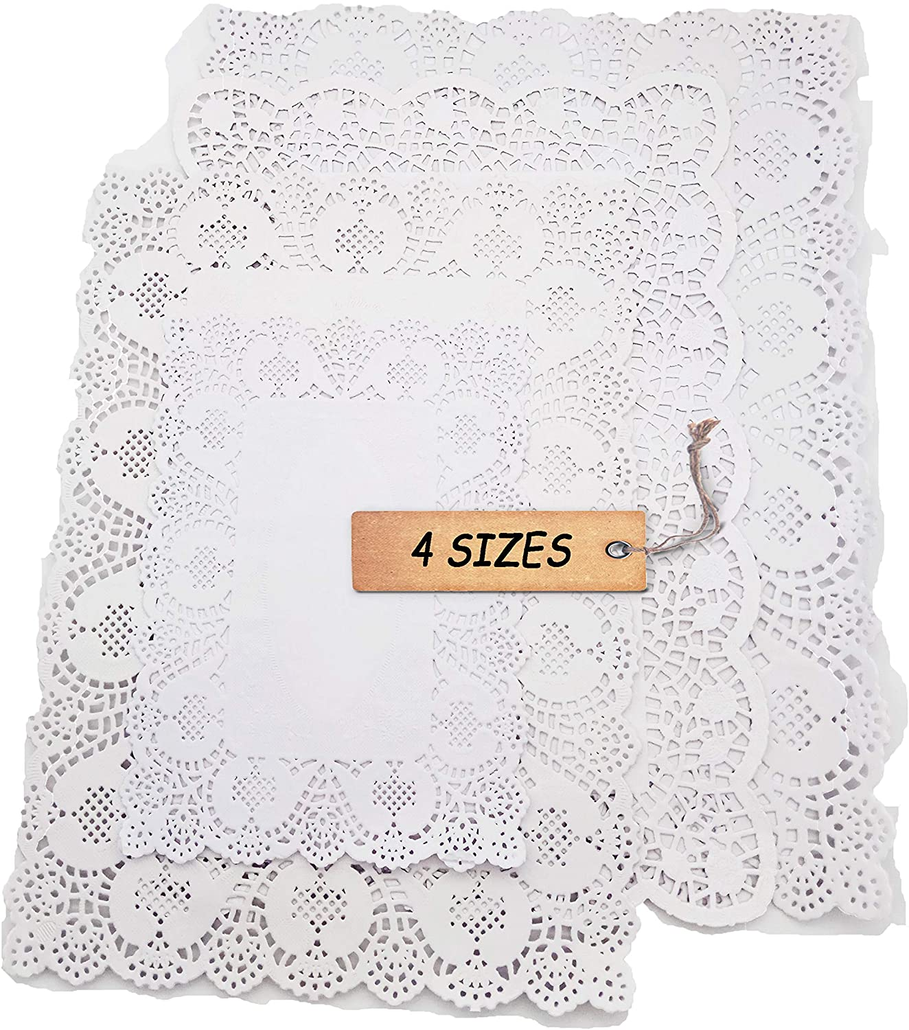 SCHOLMART Rectangle Paper Doilies, Rectangle Paper Lace Doilies, Tea Party Placemats, Disposable Wedding Birthday Party Tableware, Cake Packing Pad (4-size 32 pack)