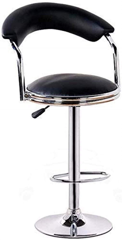 PLLP Bars, Cafes, Restaurant Chairs,Chair Office Chair Bar Chair Bar Chair Footrest Chrome Amp Gas Lift Swivel Faux Leather Kitchen Breakfast Bar Stool Black,97×40×40Cm,Black,97×40×40Cm