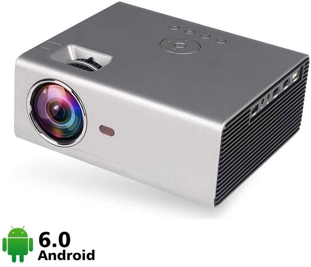ZDMSEJ Projector, Smart Android WiFi Bluetooth Video Projector, 6800 lumens 130inch Max for Movie Games, Built-in Speaker with HDMI VGA USB AV Ports