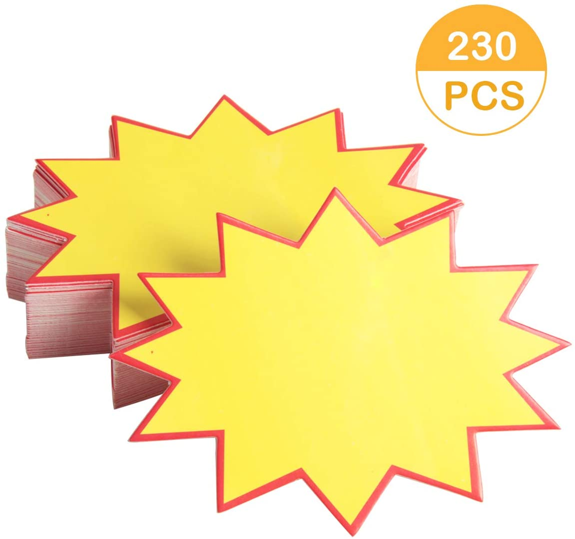 Ira Pollitt 230 Pieces Blank Star Retail Sale Signs Starburst Signs Burst Paper Signs Sales Price Label Tags for Retail Store Party Favors,Real Estate and Garage Sales,3.5 x 4.7 inch