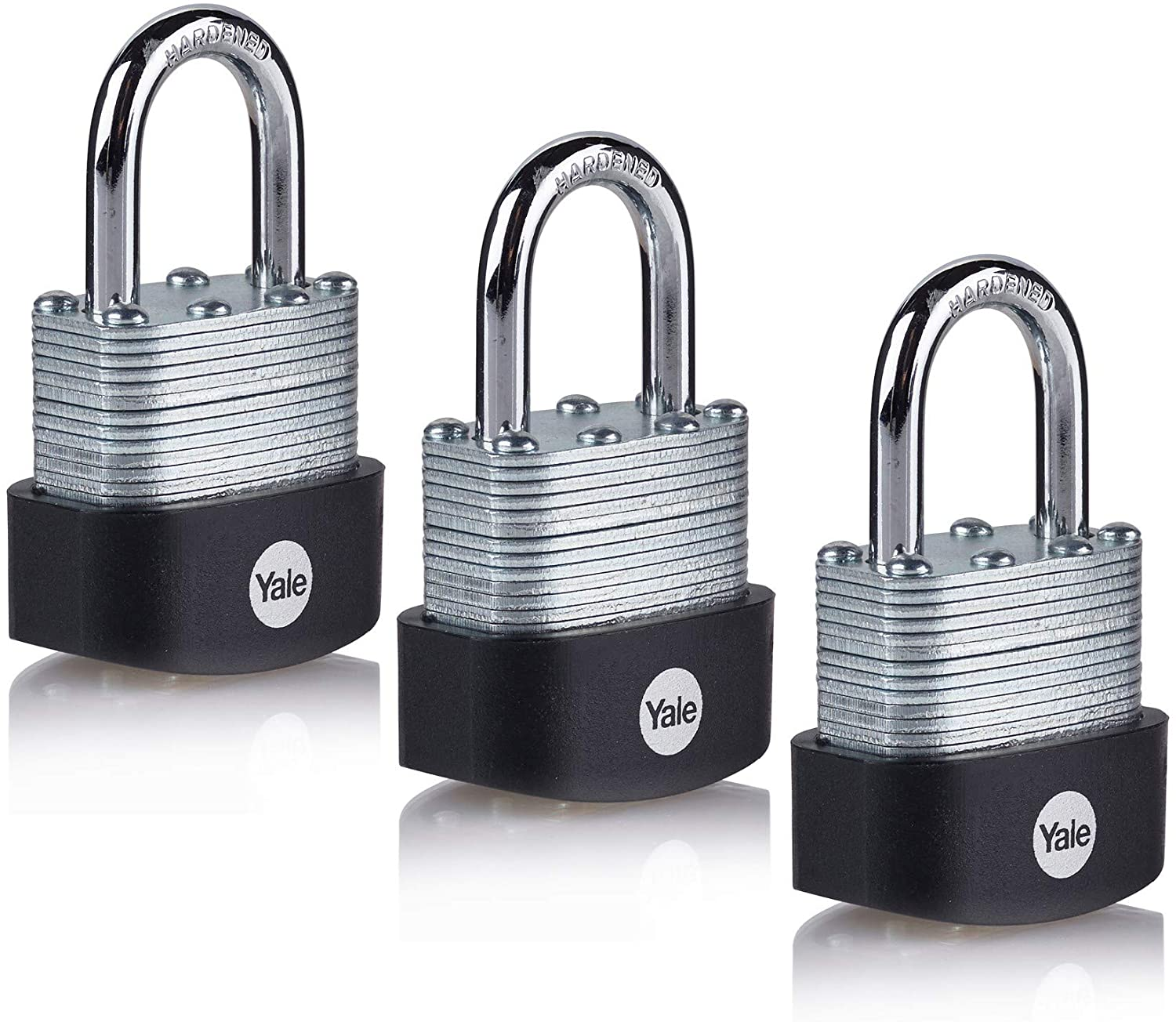 YALE Y125B/40/122/3 - 3 Pack of Laminated Steel Padlocks (50mm) - Outdoor Hardened Steel Shackle Locks for Shed, Gate, Chain - 3 Keys Each - HIGH Security - Multipack