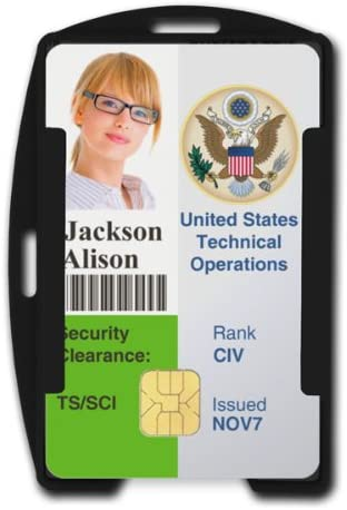 Black RFID Blocking ID Badge Holder (Holds 2 Cards) - SkimSAFE FIPS 201 Approved - Dual Sided Shield Blocks 13.56MHz Radio Signal - Specialist ID