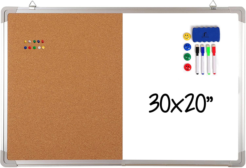 Combination Whiteboard Bulletin Board Set - Dry Erase/Cork Board 30 x 20