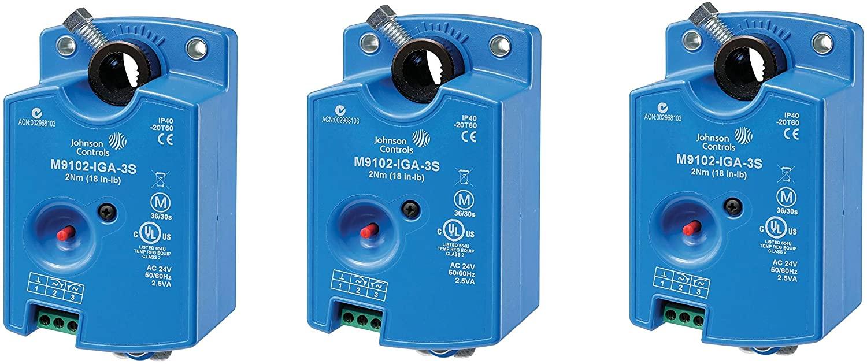 Johnson Controls M9102-AGA-3S Series M9102 Electric Non-Spring-Return Actuator, Floating Control, 2 Nm Torque, M3 Screw Terminals (Pack of 3)