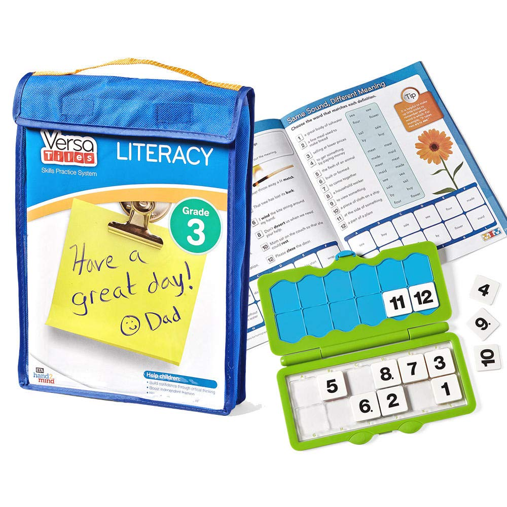 hand2mind VersaTiles Literacy Practice Take Along Set (Grade 3), Allow Kids to Learn, Practice & Self-Check Essential Reading Skills at Home, Independent Activities for Kids