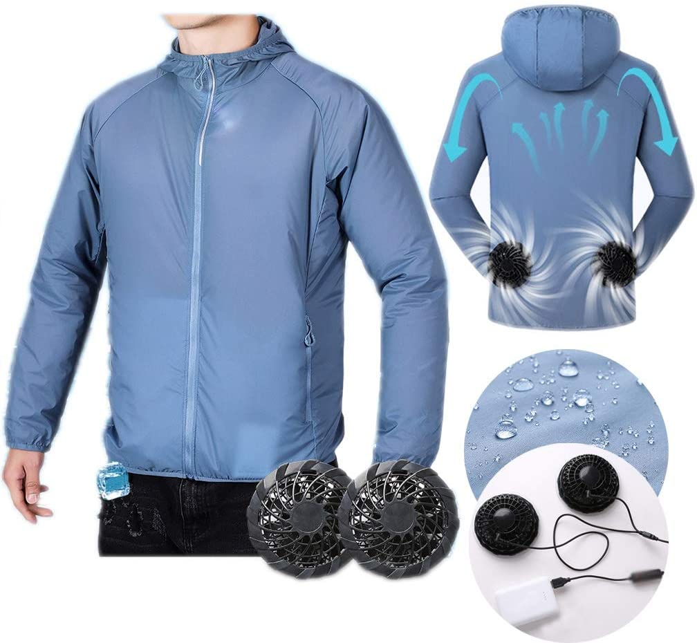 Cool Air-conditioned Clothes Sun Protection Jacket with Fans and power Bank Easy and Convenient for Sports Outside Work Preventing Sunstroke (Color : Gray blue, Size : L)