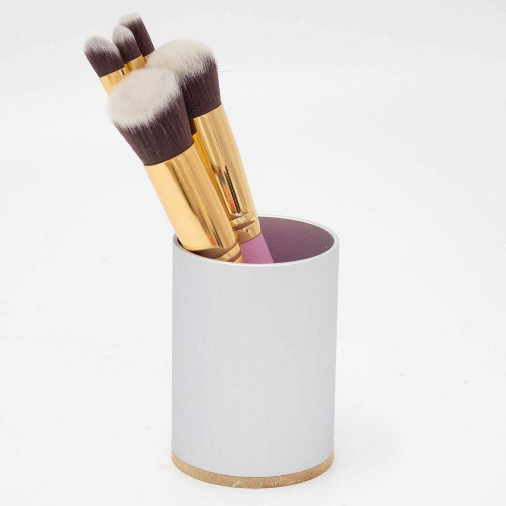 Nipole Pen Pencil Container Holder Office Desk Accessories Container Storage Box(Aluminum,Wood-1)