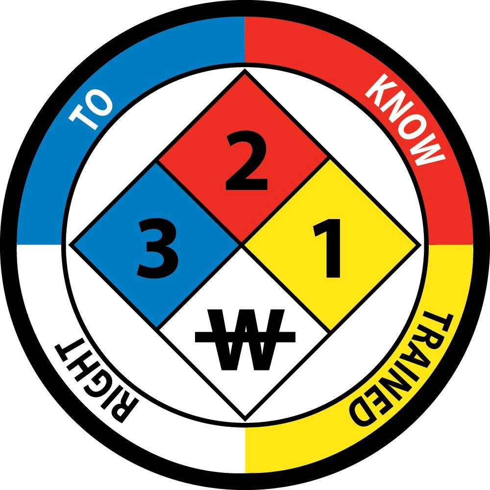 National Marker Corp. HH59 Right to Know Trained 3 2 1 W Hard Hat Emblem