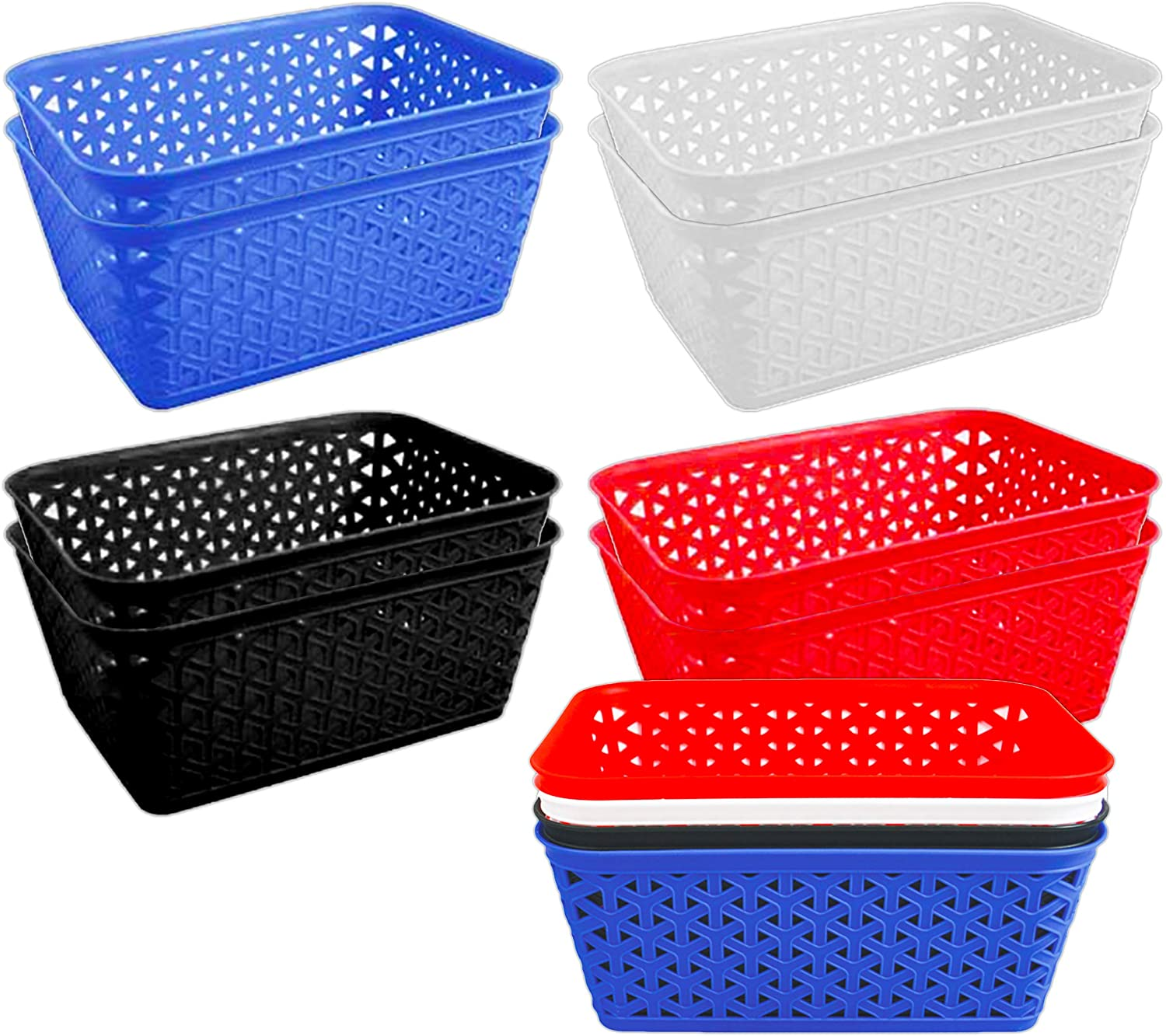 Graydon Hall Plastic Storage Baskets for Shelves, Food, Bathrooms, and More ~ 8 Pack Rectangular Storage Baskets (Food Basket Rectangle Assorted Colors)