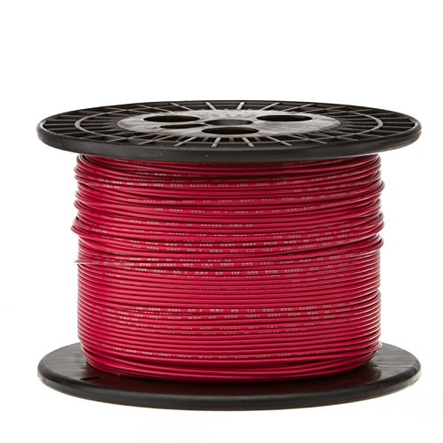 Remington Industries 18UL1007SLDRED1000 18 AWG Gauge Solid Hook Up Wire, 1000 feet Length, Red, 0.0403 Diameter, UL1007, 300 Volts