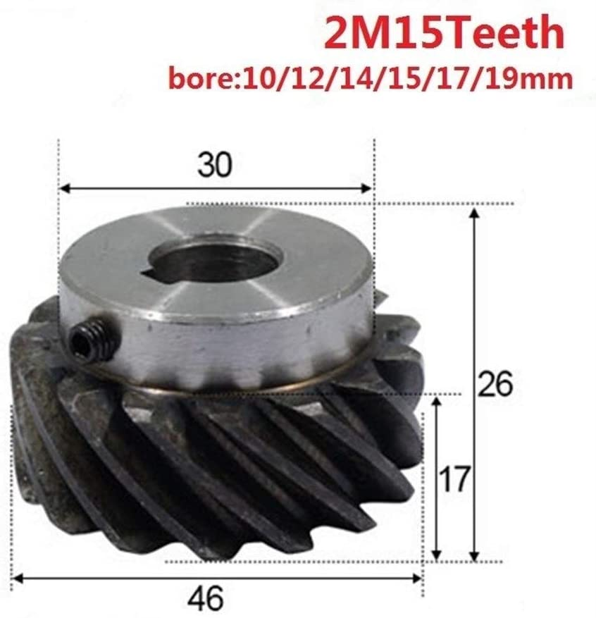 FLY MEN Helical Gear 2 M 15 Teeth Inner Hole 10/12/14/15/17/19mm Precision Spiral Gear 2M15T Transmission CNC 3D Printer (Size : 17mm keaway 5mm)