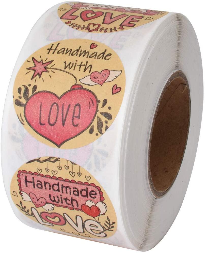 Cualfec Super Cute Handmade with Love Stickers Natural Kraft Paper 1.5