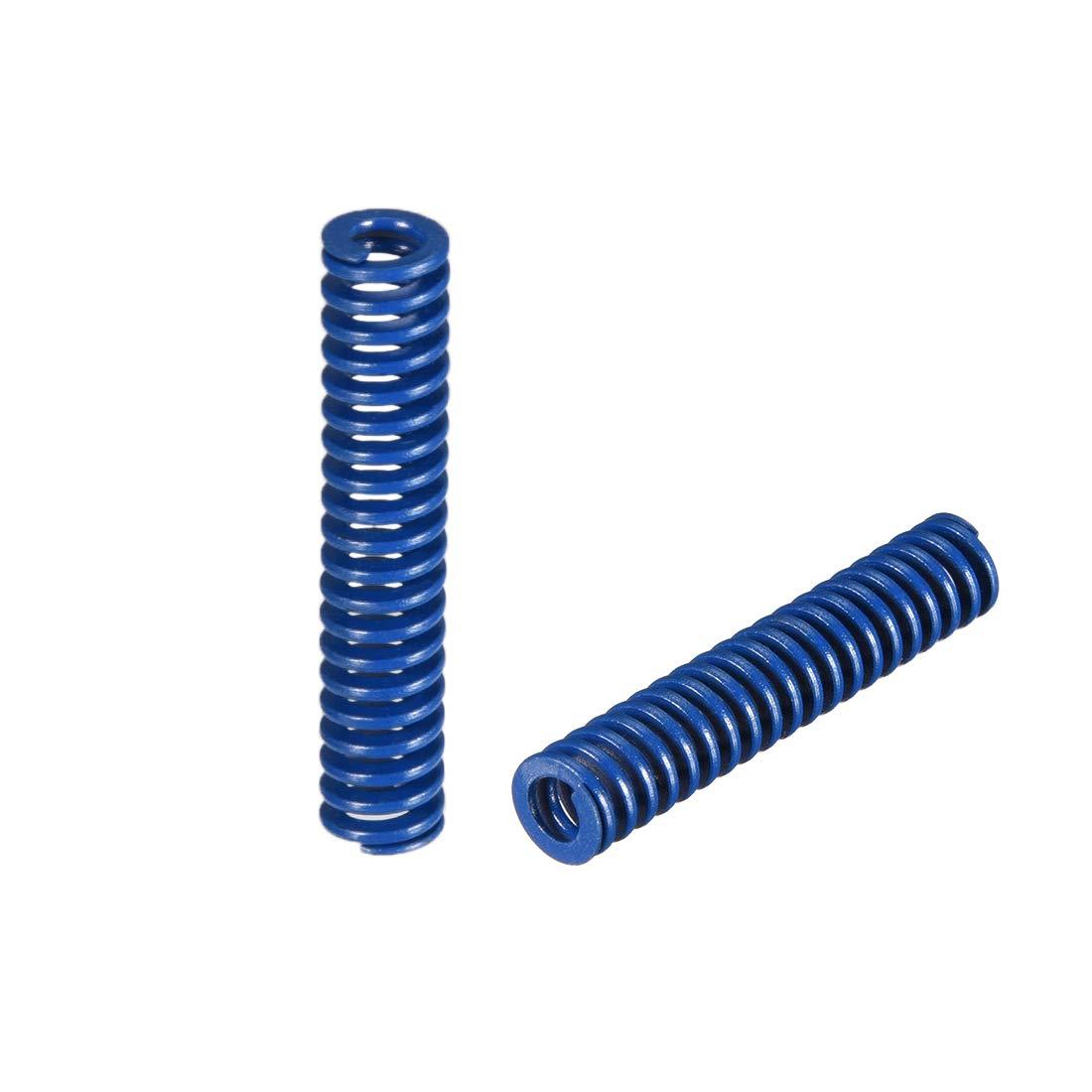 uxcell 8mm OD 40mm Long Spiral Stamping Light Load Compression Mould Die Spring Blue 2Pcs