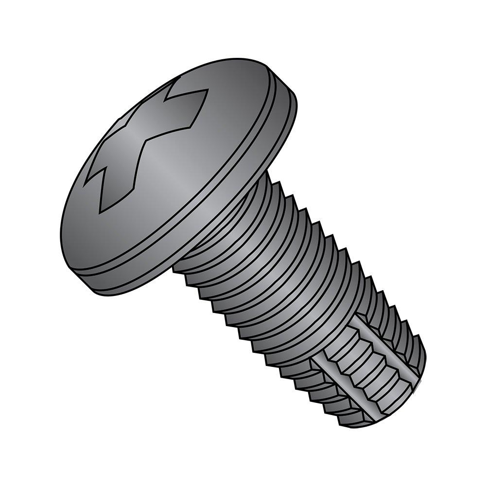 Steel Thread Cutting Screw, Black Oxide Finish, Pan Head, Phillips Drive, Type F, #4-40 Thread Size, 1/2