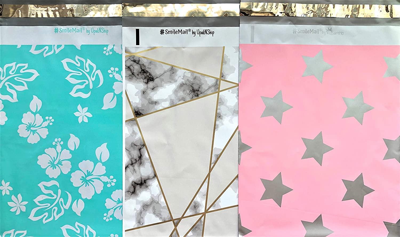 Designer Poly Mailers 10x13 : Elegant Trio Mix Pack ~ Mint Hawaiian, Marble Geometric Diamond, Pink Silver Star; Printed Self Sealing Shipping Poly Envelopes Bag (20 Pcs Elegant Trio)