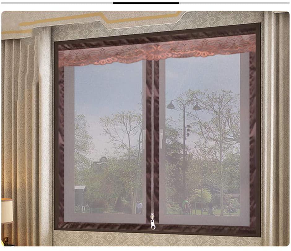 YOLI Encryption Curtain, Self-Adhesive Removable Zipper Mesh Curtain Fiberglass Window Screen -Brown 120x180cm(47x71inch)