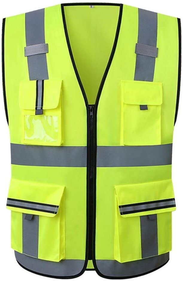 Safety Vest Fluorescent Yellow High Visibility Reflective Vests Light and Breathable at Night Work Clothes Reflective Safety Vest 2Pcs Child Safety Vest (Size : L)