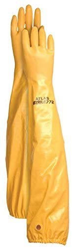 Atlas Glove WG772M 26-Inch Long Sleeve Nitrile Coated Cotton Lined Work Gloves, Medium,Yellow