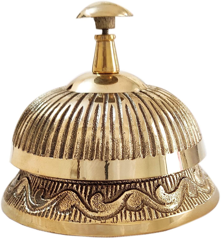 Artshai Office Service Desk Bell Hotel Counter Bell Ornate Solid Brass Hotel Counter Bell Officer Call Bell