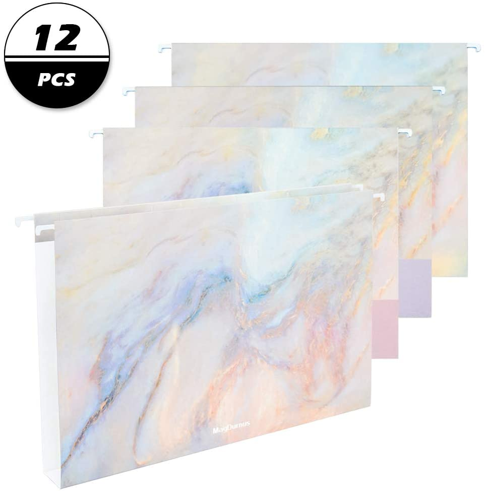 MagDurnus Hanging File Folders,Pretty Marble Design,Letter Size with 1/5 Adjustable Cut Tabs, Assorted 3 Decorative Styles,Drawer,Desk and Cabinet Use(12-Pack)