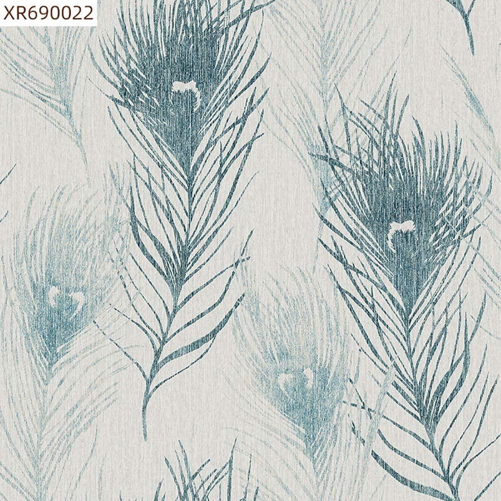 Xnxn Modern Leaves Embossed Wallpaper,Refined Non-Woven Wallcoverings for Home Living Room Bedroom Blue 1.73ft32.8ft(0.5310m)
